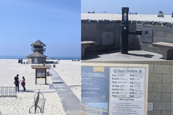 A lifeguard tower, a water bottle filling station, and a bulletin board with beach conditions