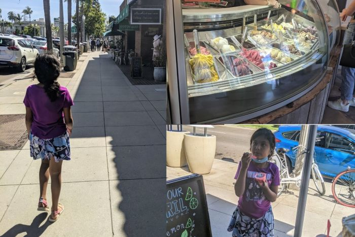 A young girl walking on Orange Ave on Coronado Island, a display case of gelato, and a young girl enjoying a cup of ice cream