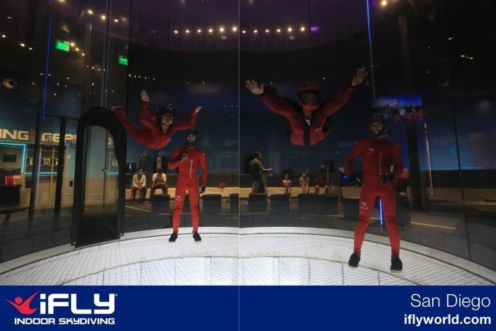 Two professional photos of kids flying in an iFly indoor skydiving tube