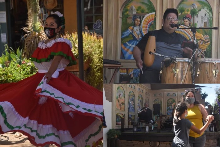 A dancer in a traditional red Mexican dress, a drummer, and two women dancing in a plaza
