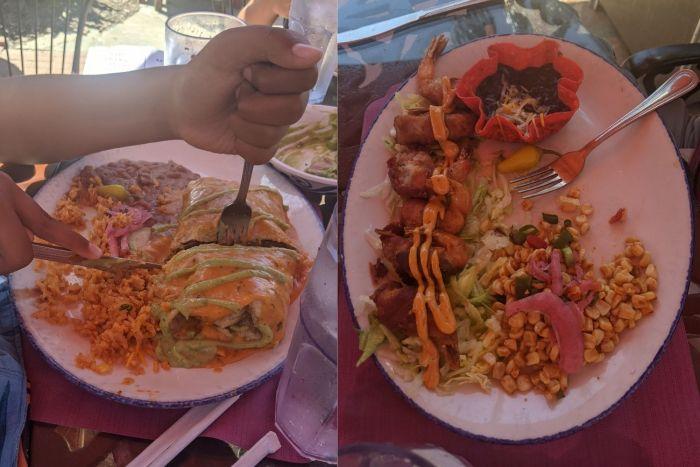A smothered burrito and Armadillo Shrimp at Casa de Reyes