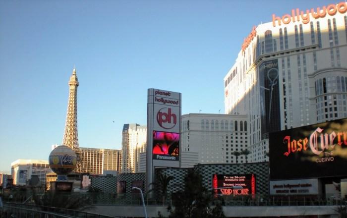 Planet Hollywood and Paris Paris on the strip in Las Vegas