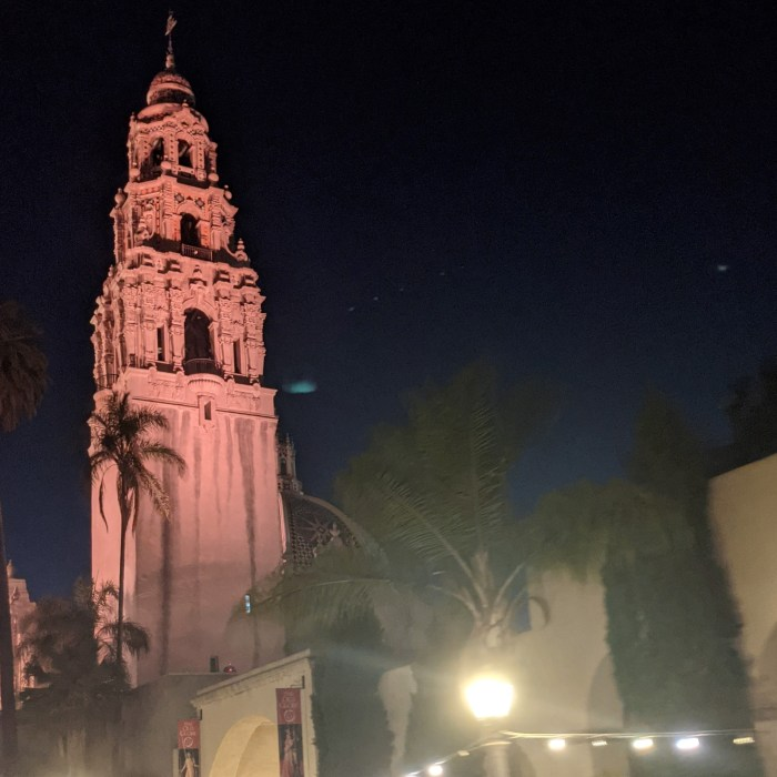 A town from Balboa Park in the evening in San Diego