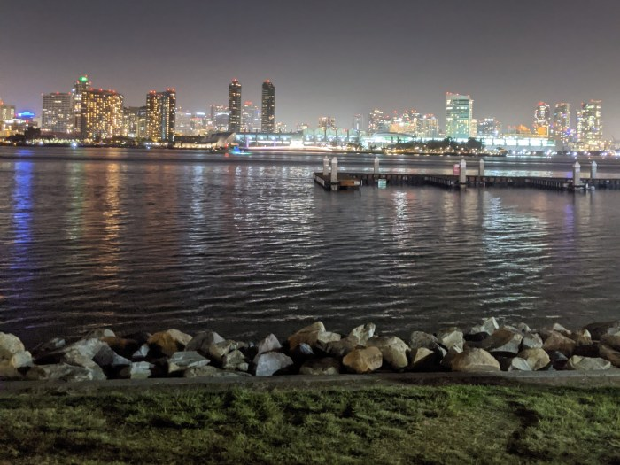 A view of the San Diego skyline at night from Coronado Island