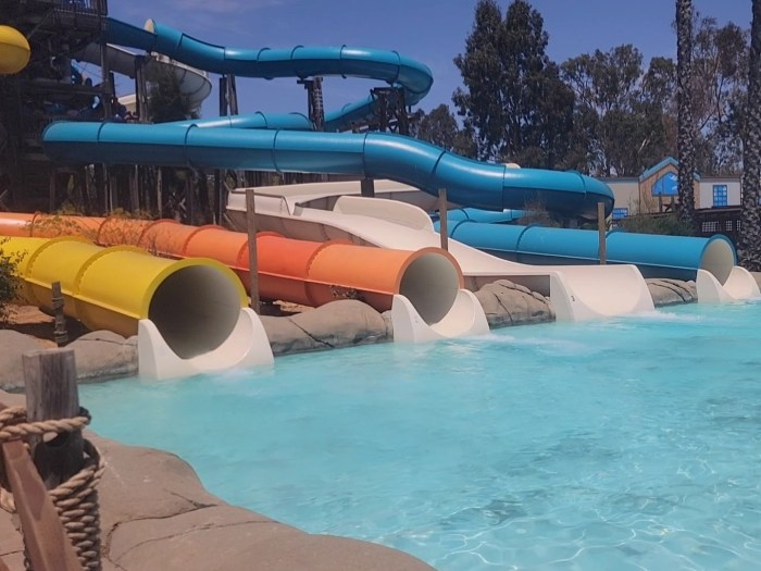 A series of 4 colorful water slides