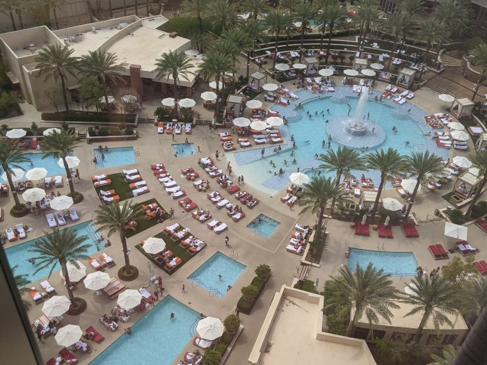 The sprawling pool complex from the Red Rocks Resort