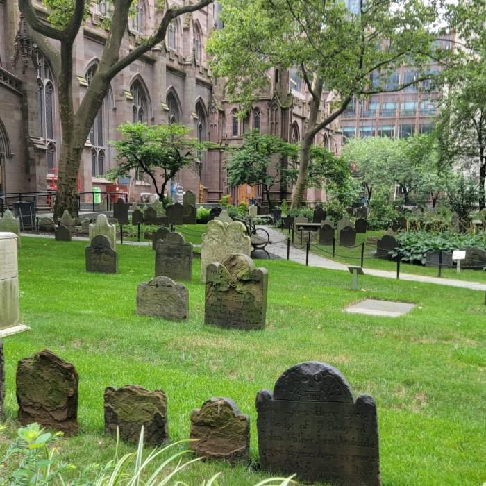 The Trinity Church Graveyard in Lower Manhattan