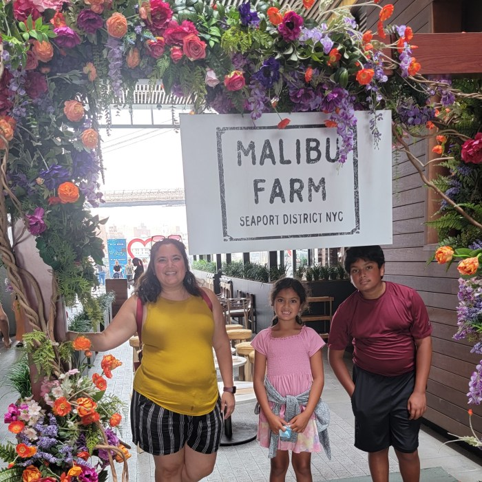 A mom and two tired children in front of a Malibu Farm sign