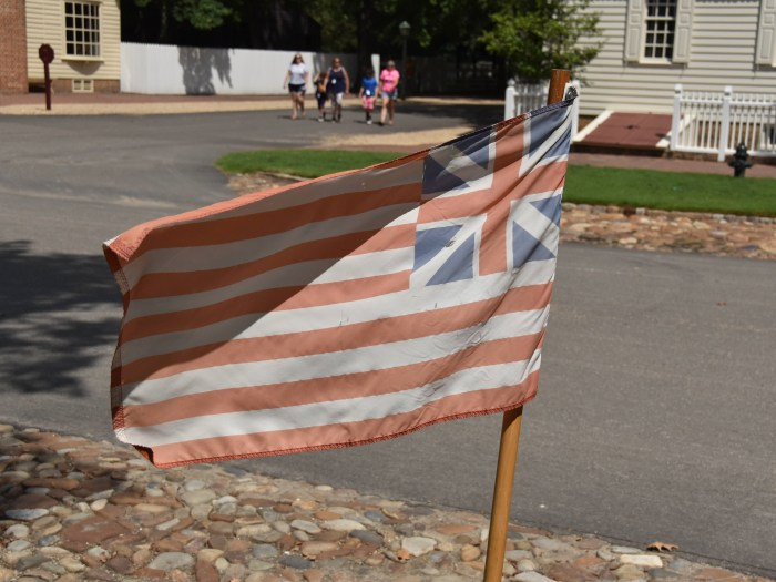 A flag from the American Colonies flying in Colonial Williamsburg