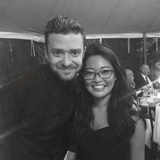 Justin Timberlake posing with a wedding guest