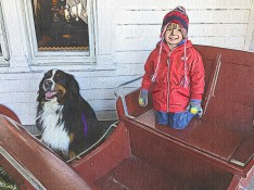 Henry and Friend in Santa's Sleigh