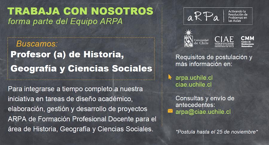 Concurso: Profesor(a) de Historia, Geografía y Ciencias Sociales para ARPA