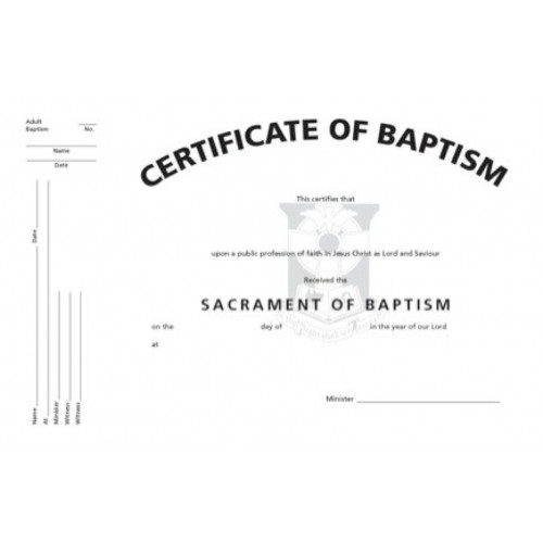 Certificate of Adult Baptism