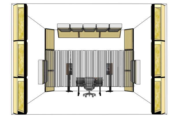 Placement of corner bass traps and other acoustic treatment in a critical listening room / studio setup