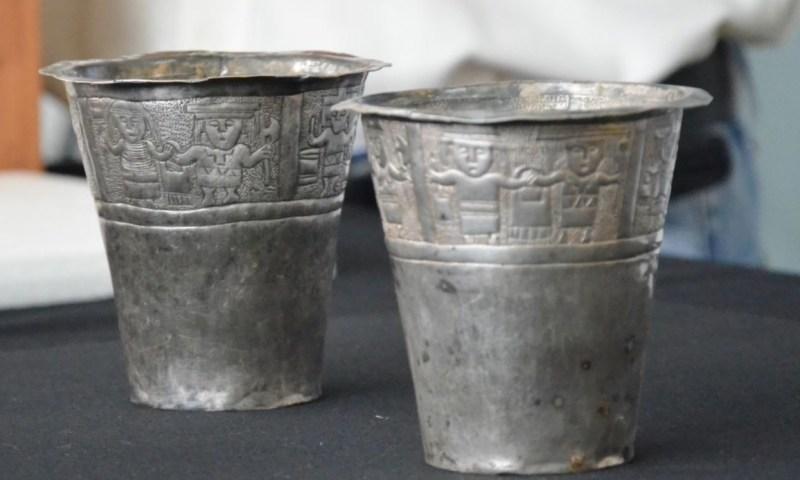 Restauran vasos (aquillas) de plata descubiertas en Purunllacta de Soloco, Amazonas