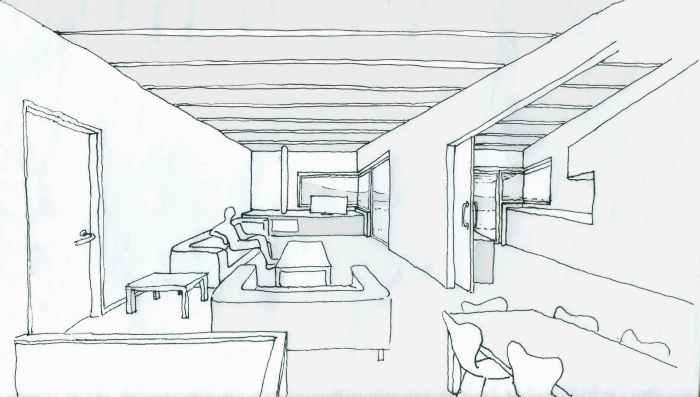perspectiva-interior-sala-cocina-entrada-ampliacion-madera-arquitecto-cangas