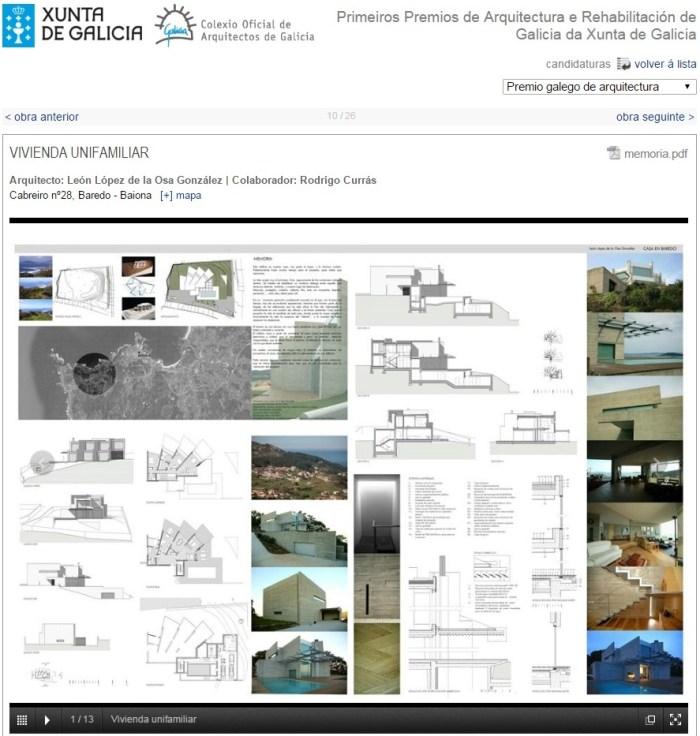 participacion de Rodrigo Currás, arquitecto en el proyecto del arquitecto León López de la Osa en Baiona- Pontevedra