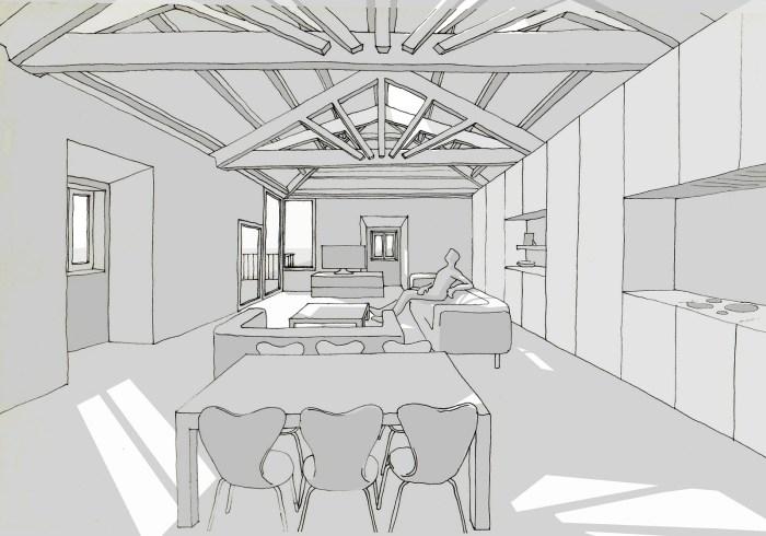 perspectiva-mano-alzada-arquitecto-poio-pontevedra-curras-sala-estar-puesta-sol-claraboyas-cercha-moana