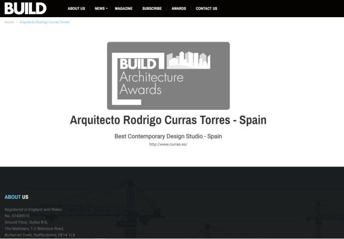 Build Architecture Awards Arquitecto Rodrigo Curras Torres Best Contemporary Design Studio -Spain