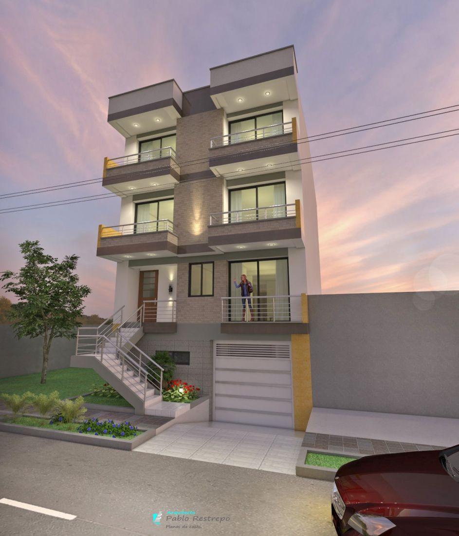Edificio moderno de apartamentos en tres pisos en