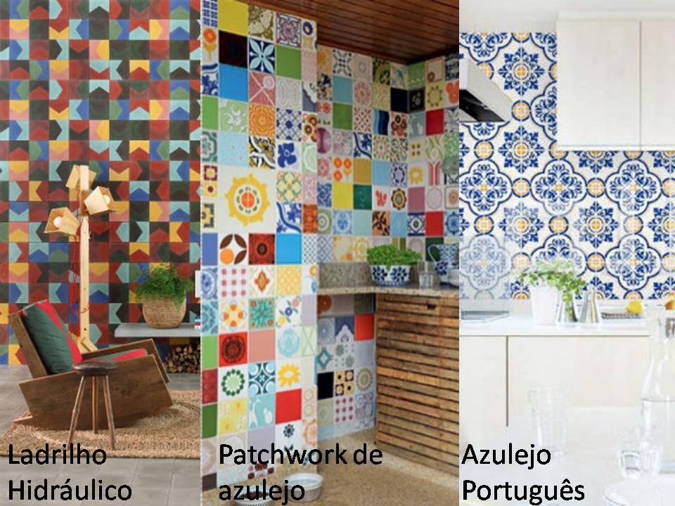 Ladrilho hidrulico azulejo portugus e patchwork de