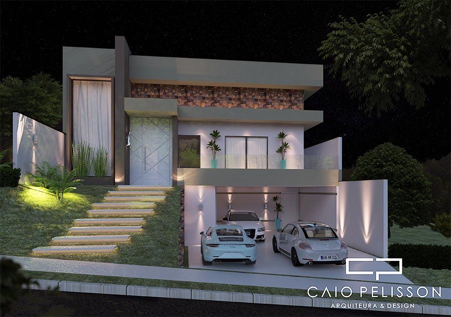 projeto casa arquitetura moderna terreno 12x25 130 metros