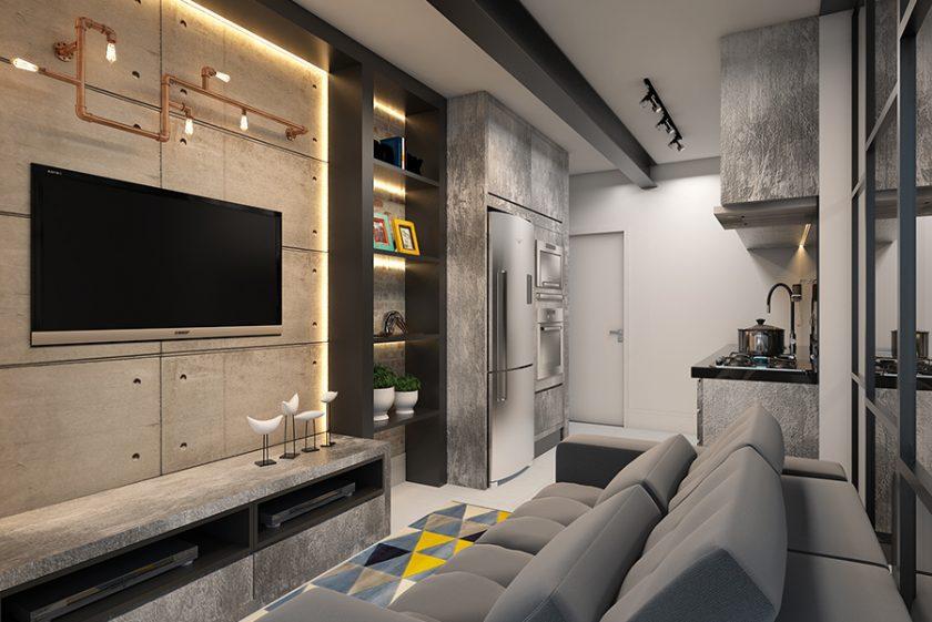 Projeto Apartamento Compacto Studio emotion Estilo Industrial