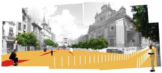 Proyecto Pangea. Concurso de ideas para la reordenanción de las plazas de El Salvador, El Pan, La Pescadería, la Alfalfa y sus entornos. Arquitextonica. Lourdes Bueno y Miguel Villegas.