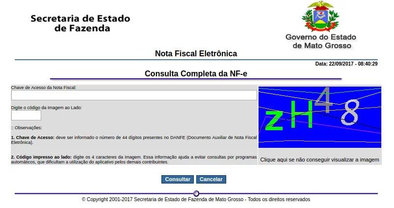 Consulta NFe completa através do site da Sefaz-MT