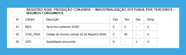 REGISTRO K302 EFD