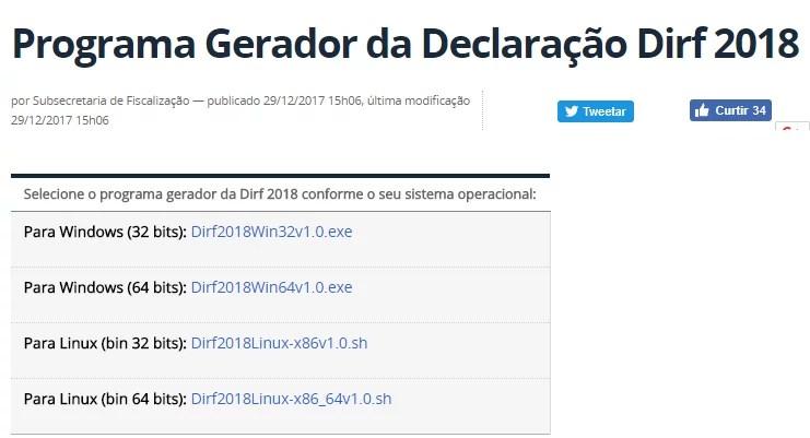 DIRF download 2018