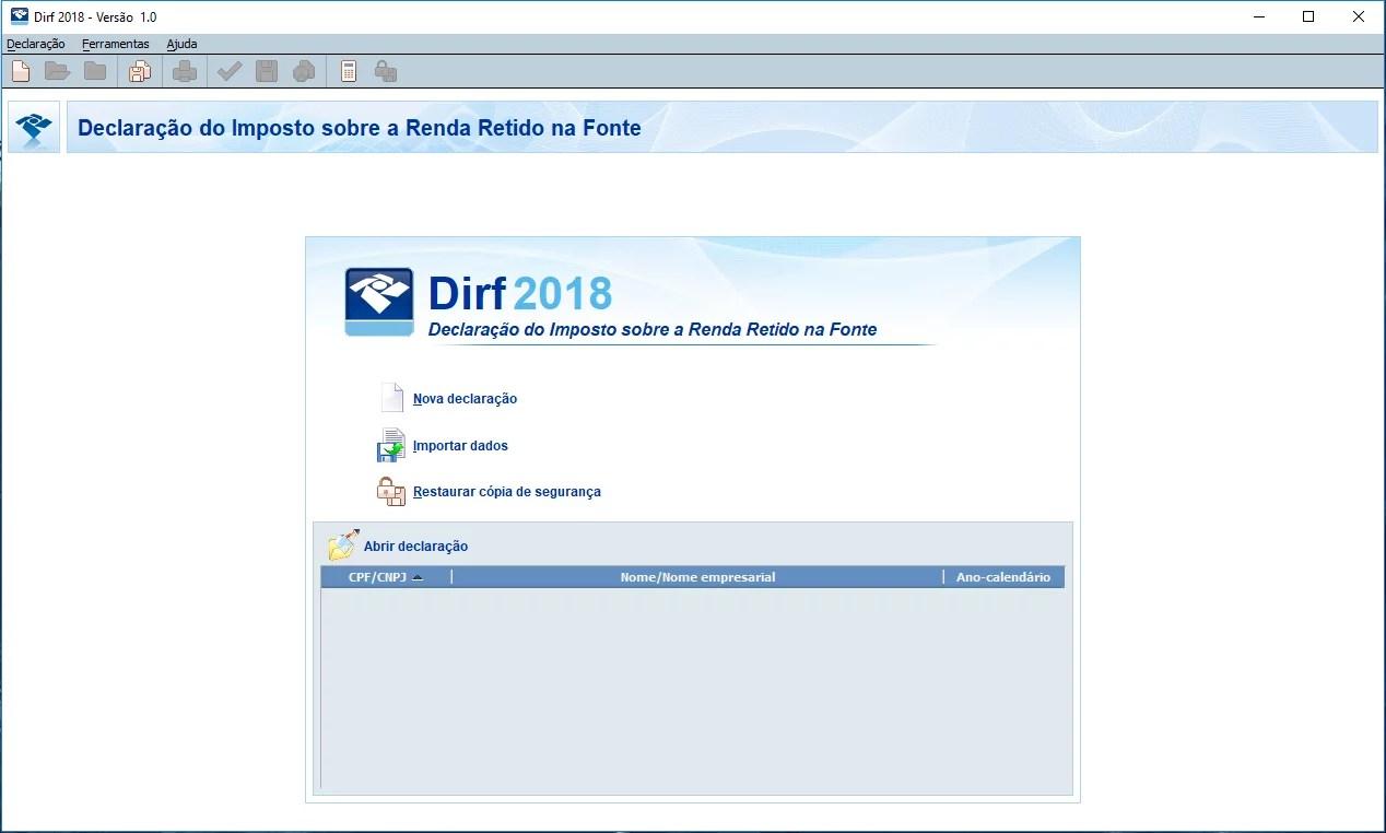 DOWNLOAD E CONFIGURAÇÕES DIRF 2018 Tela-principal-DIRF-2018