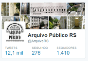 Totais tweets, seguidos e seguidores no perfil do Twitter