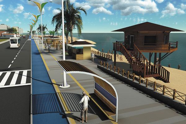 Na orla da Praia dos Artistas serão instaladas paradas padronizadas e abrigo para Bombeiros