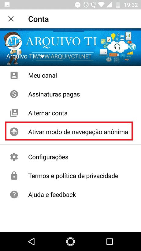Como ativar o modo de navegação anônima do YouTube 1