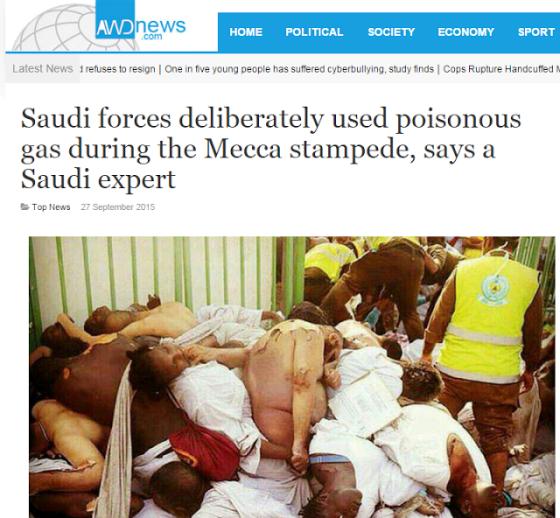 berita mengenai gas beracun yang digunakan saudi kepada jamaah haji