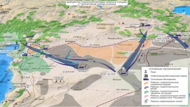 peta jalur minyak ilegal ISIS - Turki