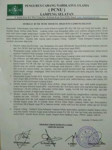 surat PWNU Lampung