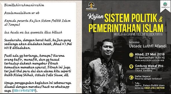 Viral di Medsos, Akhirnya Seminar #Khilafah Berbau HTI di Bandung Batal