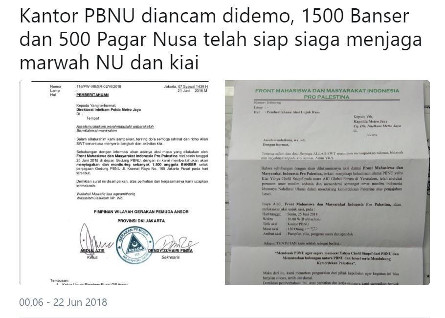 Kantor PBNU Diancam Demo, 1500 Banser dan 500 Pagar Nusa Disiagakan