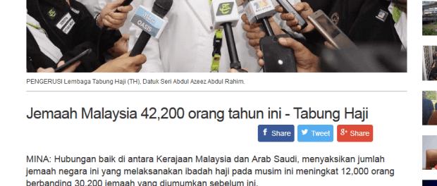 Mundur Dari Koalisi Saudi Kurangi Kuota Haji Malaysia