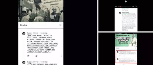 Screenshot Kades Tuban Hina NU dan Banser