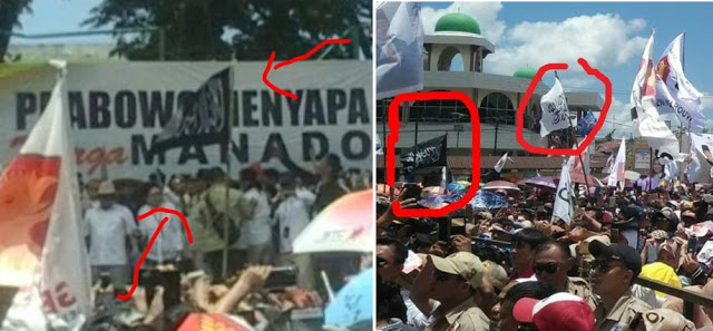 Bendera Tauhid Khas HTI Berkibar Saat Kampanye Prabowo di Manado