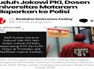 Tuduh Jokowi PKI, Dosen Unram Asal Lamongan Dipolisikan