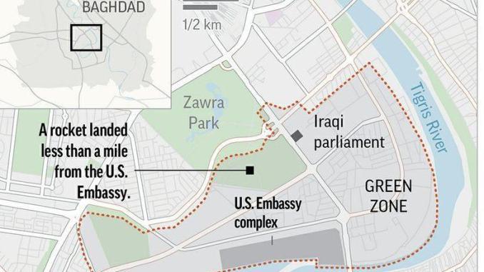 2 Roket Jatuh dekat Pangkalan AS di Zona Hijau Baghdad