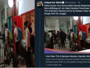 """Propaganda Busuk HNW Soal Berita Hoaks """"Video Viral Rombongan TKA China Corona Masuk Kendari"""""""