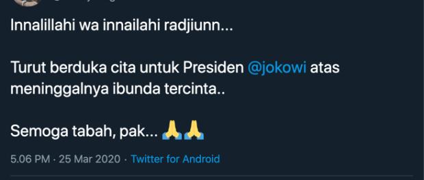 Innalilillah, Ibunda Jokowi