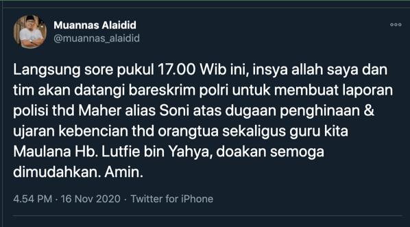 Lewat Muannas Alaidid, Habib Lutfi Resmi Laporkan Maheer ke Bareskrim