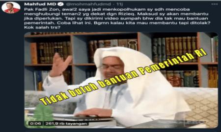 Debat Panas Fadli Zon dan Machfud MD di Twitter Soal Habib Rizieq