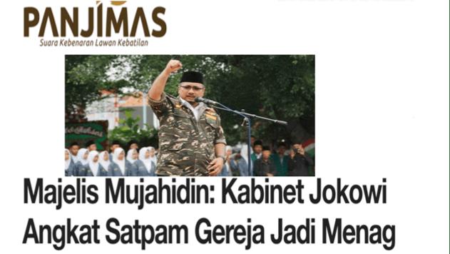 Kurang Ajar! Majelis Mujahidin Sebut Kabinet Jokowi Angkat Satpam Gereja Jadi Menag